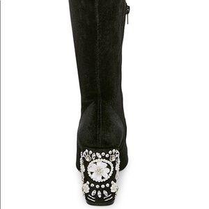 Betsy Johnson Gisel Velvet jeweled boots